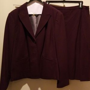 Plum lined suit with skirt
